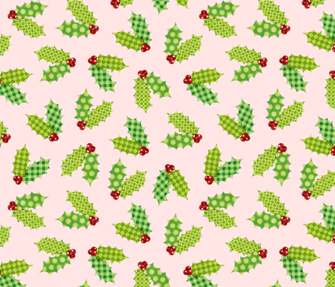 Shabby Chic Holiday Holly on Pink fabric by patricia_shea on Spoonflower - custom fabric