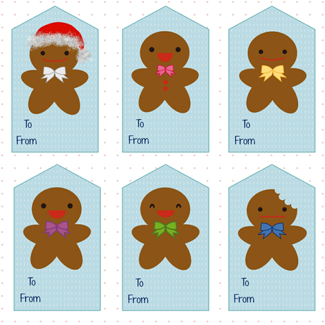 Gingerbread_Fabric_Gift_Tags fabric by theoberry on Spoonflower - custom fabric