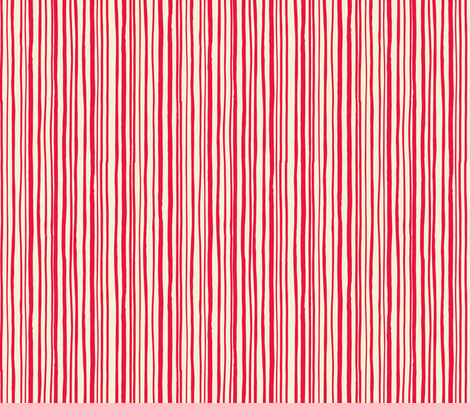 Red Hand Drawn Stripe fabric by gsonge on Spoonflower - custom fabric