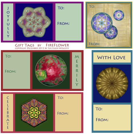 Gift_Tags_by_FireFlower_©2012_Sue_Ellen_Wolcott fabric by fireflower on Spoonflower - custom fabric