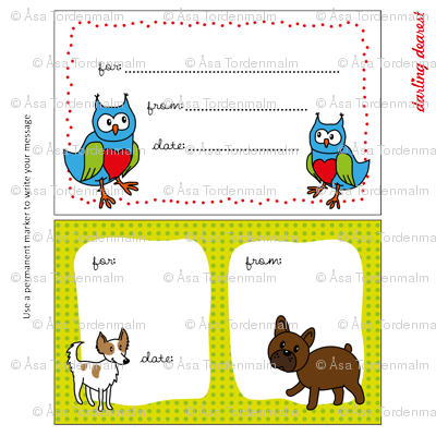 Quilt label owls and dogs