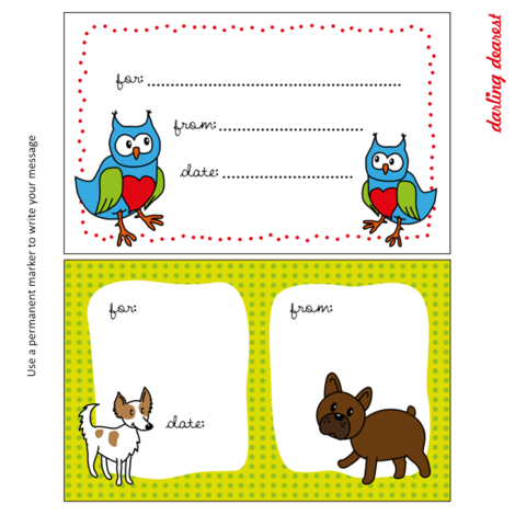 Quilt label owls and dogs fabric by darlingdearest on Spoonflower - custom fabric