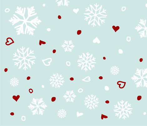 Winter Holiday Snowflakes Hearts on Blue fabric by ruxique on Spoonflower - custom fabric