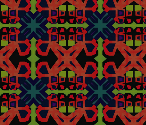 SoftGeoRedBlackGreen fabric by jonburgessdesign on Spoonflower - custom fabric
