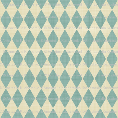 harlequin retro pattern in blue and dirty beige