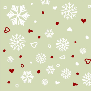 Winter Holiday Snowflakes Hearts on Green