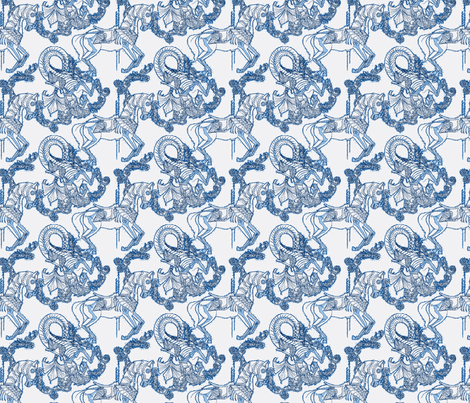 Blue Carousel fabric by artemisisolde on Spoonflower - custom fabric