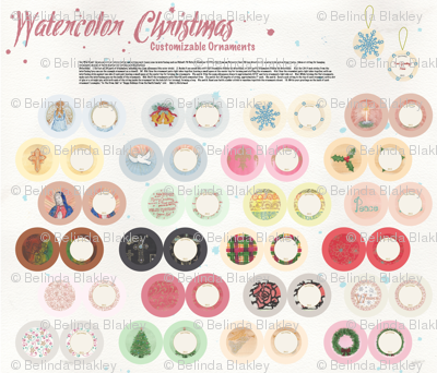 Watercolor Christmas Ornaments DIY Cut & Sew