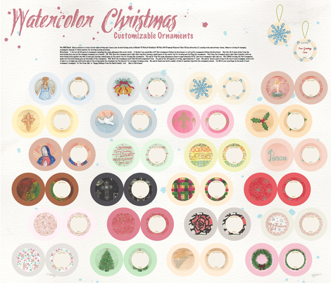 Watercolor Christmas Ornaments DIY Cut & Sew fabric by fortheloveofholidays on Spoonflower - custom fabric