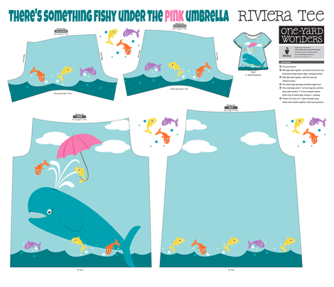 There's something fishy under the pink umbrella fabric by retrorudolphs on Spoonflower - custom fabric