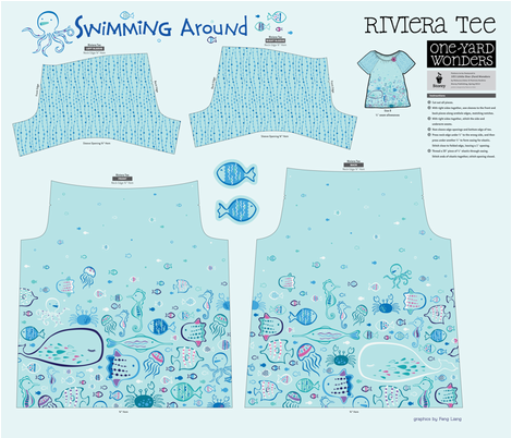 Swimming Around Riviera Tee fabric by feng on Spoonflower - custom fabric