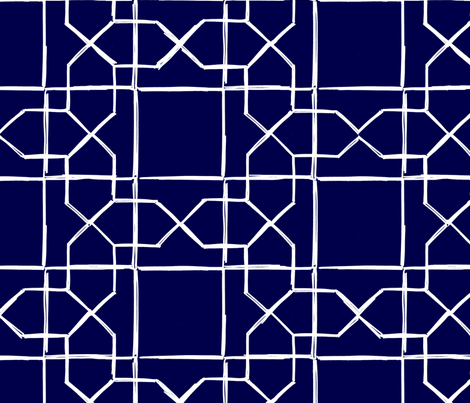ALHAMBRA TRELLIS - white on navy fabric by marcador on Spoonflower - custom fabric