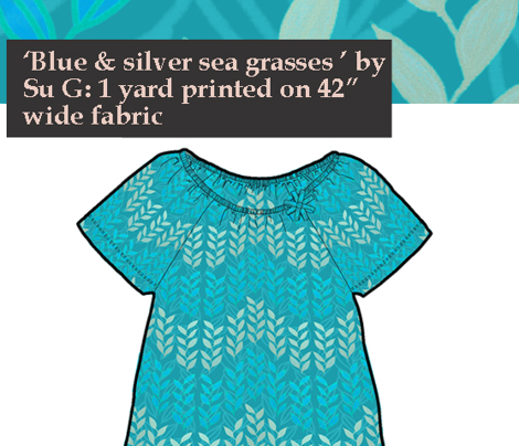 Riviera T-shirt in blue and silver sea grasses