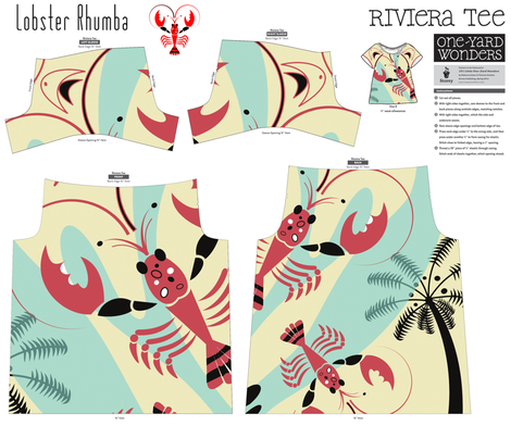 Lobster Rhumba Tee fabric by chickoteria on Spoonflower - custom fabric
