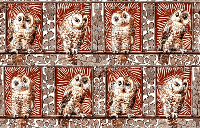 boxed owls burnt orange