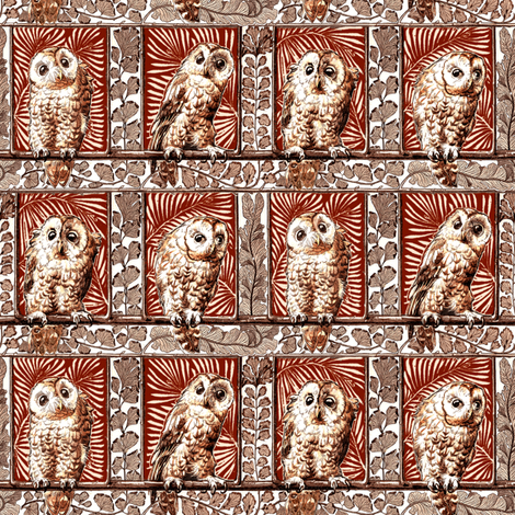 boxed owls burnt orange fabric by keweenawchris on Spoonflower - custom fabric