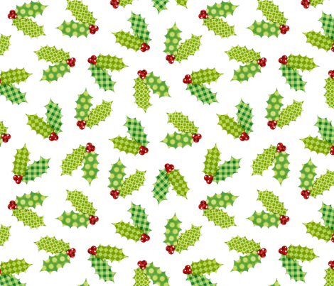 Shabby Chic Holiday Holly on White fabric by patricia_shea on Spoonflower - custom fabric