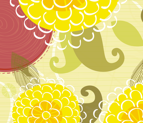 Yellow Mums fabric by friztin on Spoonflower - custom fabric
