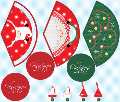The Claus' and their tree fabric by jwitting on Spoonflower - custom fabric