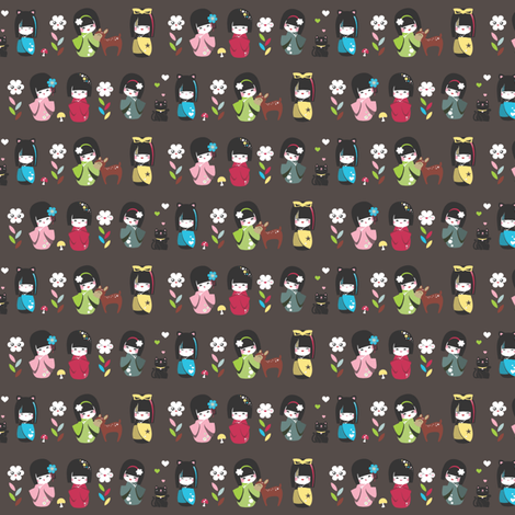 Kokeshi Trim on Dark fabric by tradewind_creative on Spoonflower - custom fabric