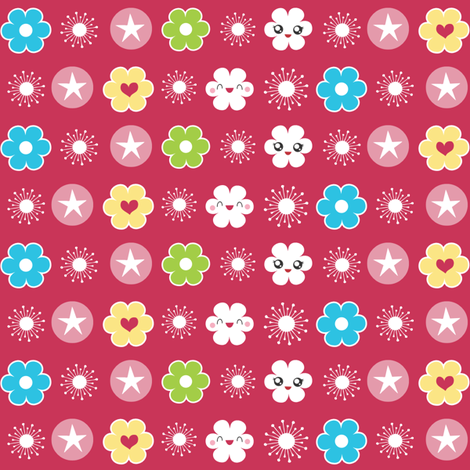 Flower Trim in Pink fabric by m0dm0m on Spoonflower - custom fabric
