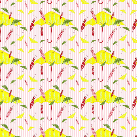 Pink_Candy_Stripe_Umbrellas fabric by evelynrosedesigns on Spoonflower - custom fabric