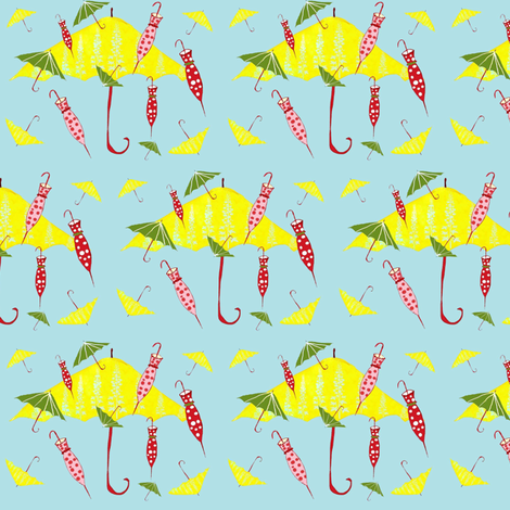 Blue Umbrellas fabric by evelynrosedesigns on Spoonflower - custom fabric