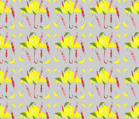 Gray_Umbrellas fabric by evelynrosedesigns on Spoonflower - custom fabric