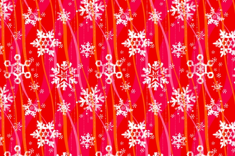 Grunge Snowflakes - Pink fabric by friztin on Spoonflower - custom fabric