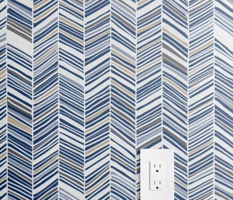 Herringbone Hues of Monaco Blue by Friztin