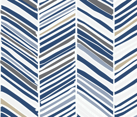 Herringbone Hues of Monaco Blue by Friztin fabric by friztin on Spoonflower - custom fabric