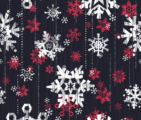 Grunge Snowflakes Navy fabric by friztin on Spoonflower - custom fabric