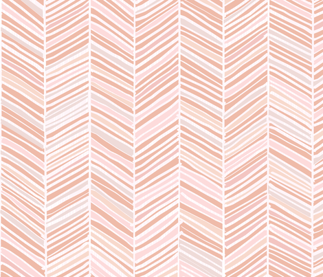 Herringbone Hues of Pastel Peachy Pink by Friztin fabric by friztin on Spoonflower - custom fabric