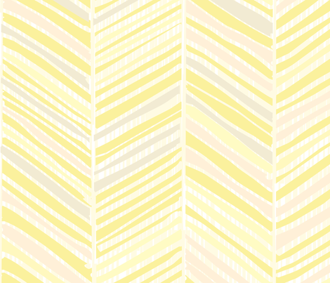 Herringbone Hues of Pastel Yellow by Friztin fabric by friztin on Spoonflower - custom fabric