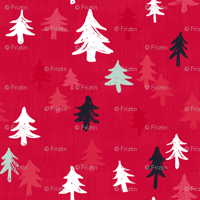 Xmas Trees in Red by Friztin