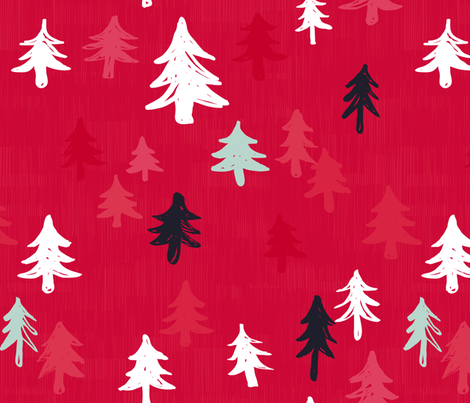 Xmas Trees in Red by Friztin fabric by friztin on Spoonflower - custom fabric
