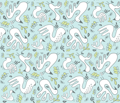 A Fancy Feathery Flock! (lt. aqua, lt. lime, gull grey and white) fabric by pattyryboltdesigns on Spoonflower - custom fabric