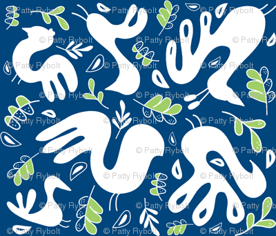 A Fancy Feathery Flock 2! (midnight sky blue, granny apple and white)