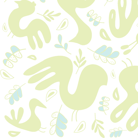 A Fancy Feathery Flock! ll (lt. lime, lt. aqua and white) fabric by pattyryboltdesigns on Spoonflower - custom fabric