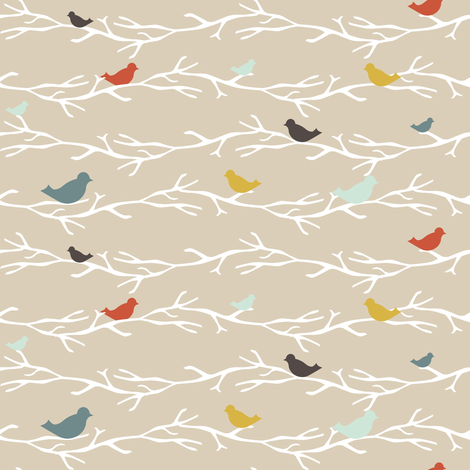 TreetopBlueBirds fabric by mrshervi on Spoonflower - custom fabric