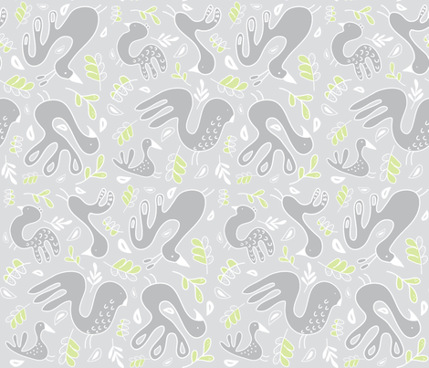 A Fancy Feathery Flock! (driftwood, lt. lime, lt. gull grey and white) fabric by pattyryboltdesigns on Spoonflower - custom fabric