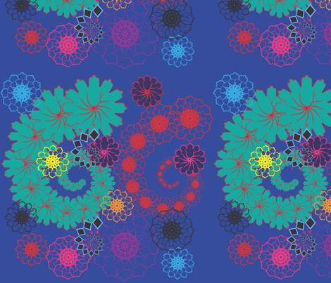 Floral Spirals on Blue