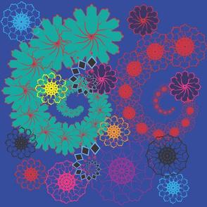 Floral Spirals on Blue