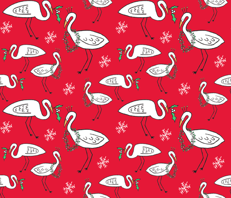 Christmas Cranes (Christmas red) fabric by pattyryboltdesigns on Spoonflower - custom fabric