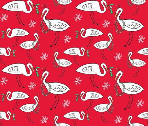 Christmas Cranes (Christmas red) fabric by pattyryboltdesigns on Spoonflower - custom fabric
