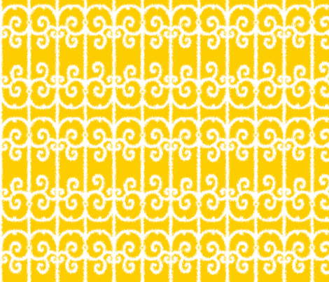 Ikat Wrought Iron Swirls in Sunny Yellow fabric by fridabarlow on Spoonflower - custom fabric