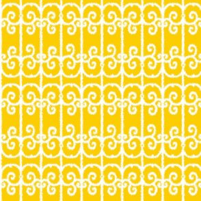 Ikat Wrought Iron Swirls in Sunny Yellow