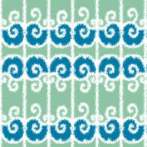 Ikat Wrought Iron Swirls in Sea Green and Blue