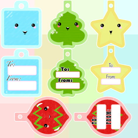Cute Kawaii Gift Tag fabric by yourfriendamy on Spoonflower - custom fabric