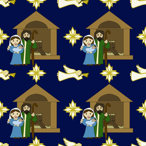 Children's Nativity fabric by brandymiller on Spoonflower - custom fabric